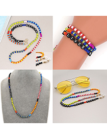 Fashion Mixing 1 Rainbow Glass Rice Beads Beaded Letter Glasses Chain