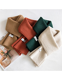 Fashion Powder Solid Color Double-sided Knitted Long Thick Letter Logo Scarf