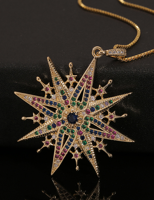 Fashion Gold Color Copper Plated Real Gold Color Color Zirconium Hexagonal Star Necklace