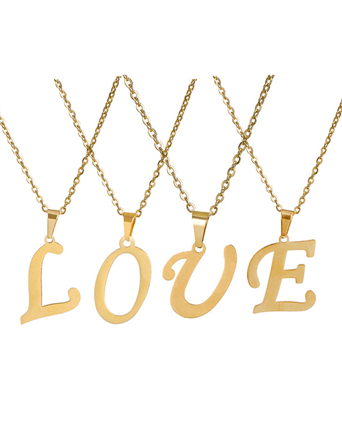 Fashion A Stainless Steel 26 Letter Necklace And Earring Set