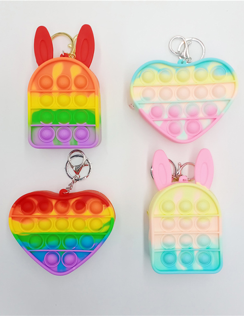 Fashion Rabbit Rainbow Color (with Chain) Rabbit Love Wallet Silicone Push Toy
