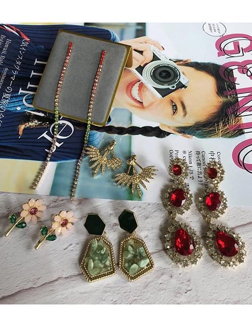 Fashion 1# Alloy Color Rhinestone Tassel Earrings