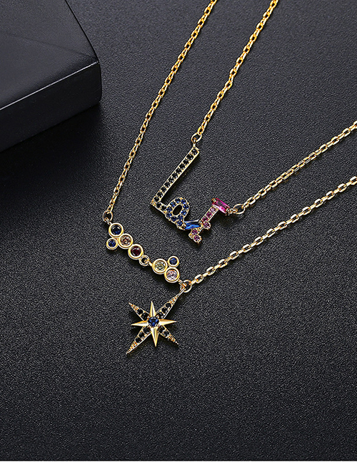 Fashion Gold Color Double-layer Necklace With Copper Inlaid Zirconium Letters