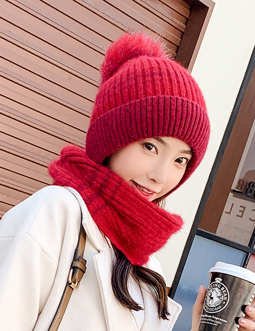 Fashion Black Hair Ball Knitted Scarf All-in-one Kit
