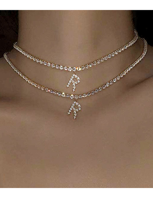 Fashion A Gold Color Alloy 26 Letters Necklace With Diamonds