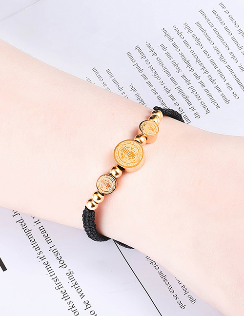 Fashion Black Rope Stainless Steel Portrait Brand Braided Hand Rope