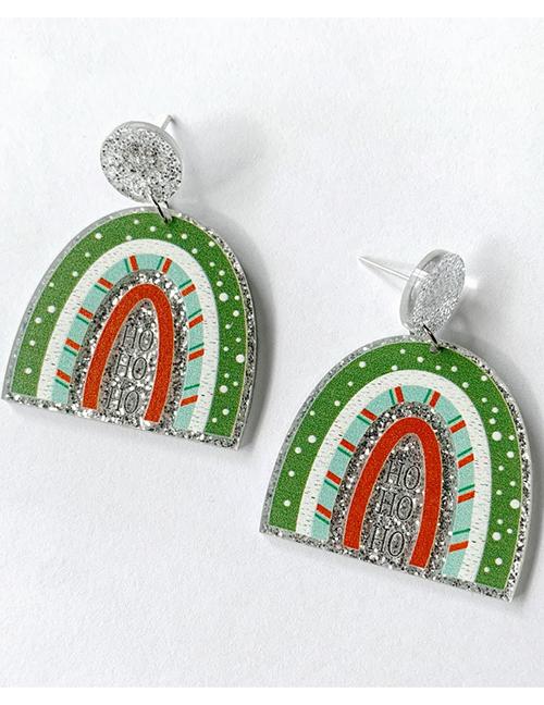 Fashion Green Acrylic Christmas Rainbow Stud Earrings