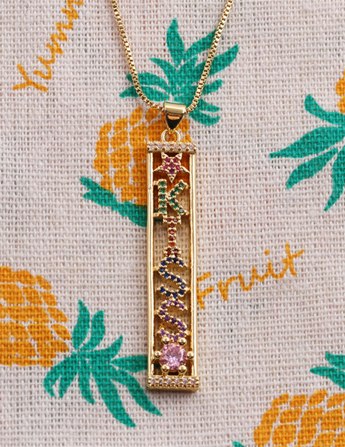Fashion Gold Copper Plated Real Gold And Colored Zirconium Long Brand Necklace