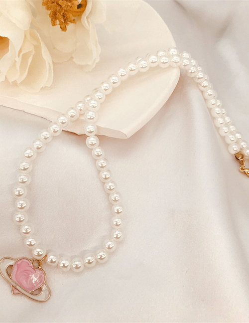 Fashion Necklace Alloy Drop Oil Love Pearl Necklace