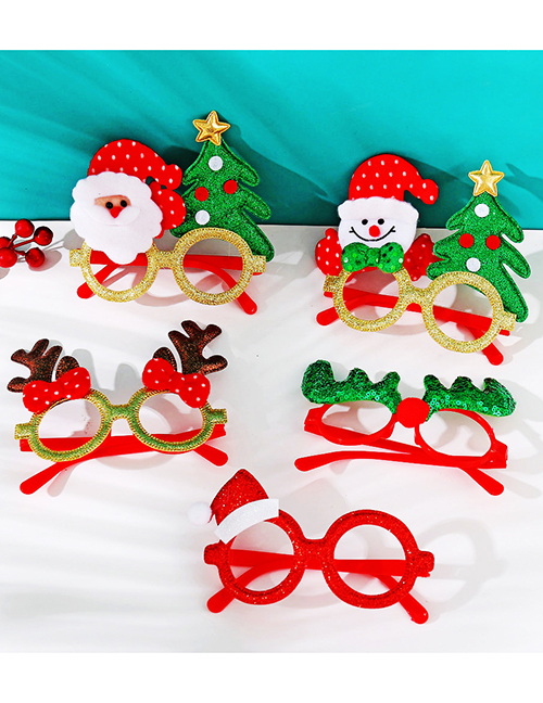 Fashion 1# Christmas Plastic Frame With Antlers Santa Claus Christmas Tree Children Glasses