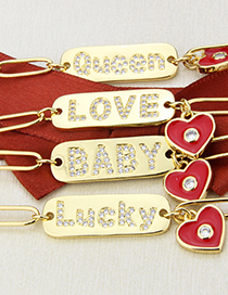 Fashion Queen Gold Glossy Letter Tag Drop Oil Love Diamond Necklace