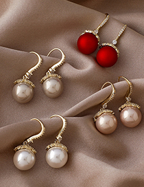 Fashion White Micro-inlaid Zircon And Pearl Geometric Copper Gold-plated Earrings