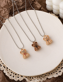 Fashion Beige (red Bow) Plush Bear Alloy Necklace