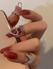 Fashion Drill Alone Diamond Geometric Alloy Nail Ring