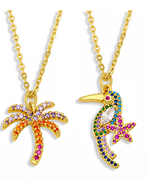 Fashion Coconut Tree Coconut Flower Toucan Necklace With Diamonds And Gold-plated Copper