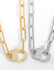 Fashion Golden Thick Chain Diamond Keychain Necklace