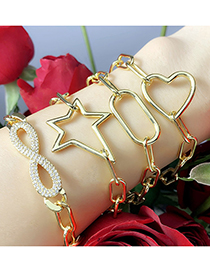 Fashion Cross Thick Chain Love Geometric Copper Gilded Bracelet