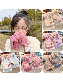 Fashion Bright Yellow Elk[5-12 Years Old] Plush Thickened Clamshell Fruit Embroidery Children Gloves