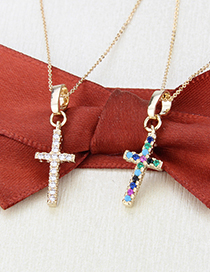 Fashion Gold-plated Zirconium Cross Gold-plated And Zirconium Copper Pendant Necklace
