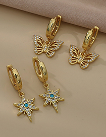 Fashion Gold Color Copper Inlaid Zircon Butterfly Earrings