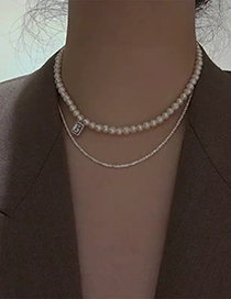 Fashion Pearl Freshwater Pearl And Diamond Geometric Alloy Necklace
