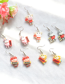 Fashion Happy New Year Resin Calf Contrast Alloy Earrings