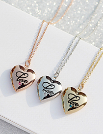 Fashion Silver Color White Love Open Frame Letter Necklace