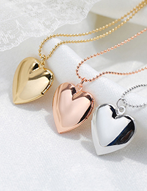 Fashion 18k Gold Mercerized Peach Heart Photo Box Necklace
