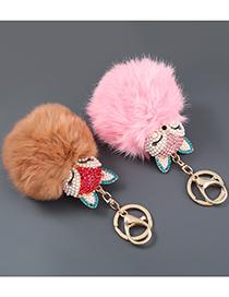 Fashion White Alloy Diamond Pearl Fox Fur Ball Keychain Plush Pendant