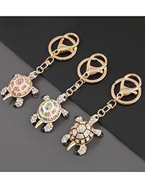 Fashion Pink Alloy Diamond Tortoise Keychain Pendant