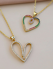 Fashion Golden Copper Inlaid Zircon Heart Necklace