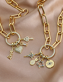 Fashion Golden Copper Inlaid Zircon Key Letter Necklace