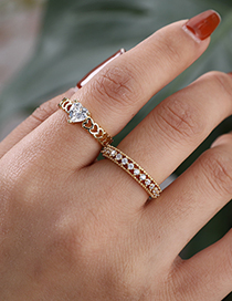 Fashion Golden Copper Inlaid Zircon Geometric Ring