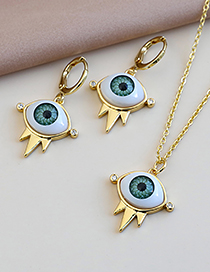 Fashion Golden Copper Inlaid Zircon Eye Necklace