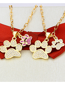 Fashion Gold-plated Cats Claw Red Zirconium Zirconium Cat Paw Gold-plated Pendant Necklace