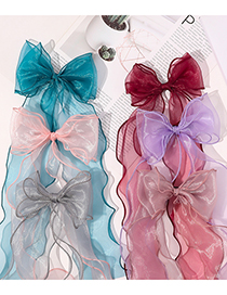 Fashion Peacock Blue Breathable Organza Hairpin With Bow And Ribbon