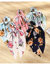 Fashion Navy Flower Print Ribbon Fabric Large Intestine Ring Hair Rope