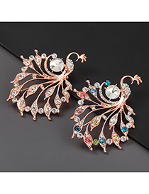 Fashion White Alloy Diamond Peacock Brooch