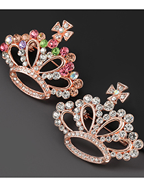Fashion White Alloy Diamond Crown Brooch