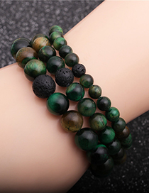 Fashion 6mm Green Tigers Eye Stone + A Volcanic Stone Volcanic Green Tiger Eye Beaded Elastic Bracelet