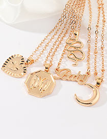 Fashion Love Moon Love Letter Serpentine Geometric Alloy Necklace