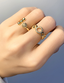 Fashion Round Micro-set Zircon Geometric Round Ring