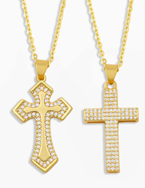 Fashion Cross A Cross And Gold-plated Copper Pendant Necklace