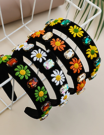 Fashion Orange Fabric Alloy Diamond-studded Flower Headband