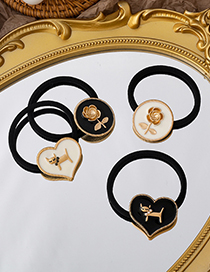 Fashion Black (love Style) Rose Flower Cat Dripping Oil Pearl Alloy Hair Rope