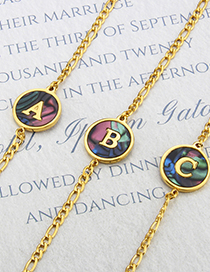 Fashion Gold-plated Abalone Shell A Round Abalone Shell Letters Gold-plated Titanium Steel Bracelet