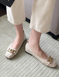 Fashion Green Flat Metal Buckle Chain Square Toe Shoes