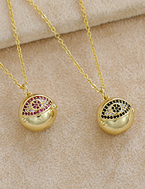 Fashion Red Copper Inlaid Zircon Eye Necklace
