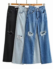 Fashion Black Washed Loose Knee Jeans With Ripped Raw Edges