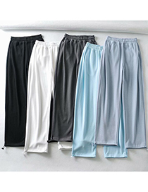 Fashion White Solid Color Pockets Heart Patch Wide Loose Straight-leg Pants